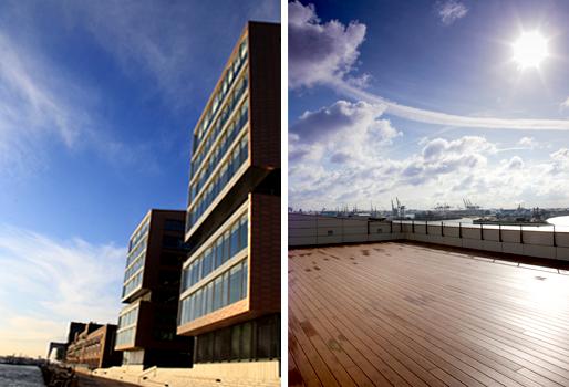 Dachterrasse mit Premium WPC Terrassendielen und Außenansicht Columbia Twins