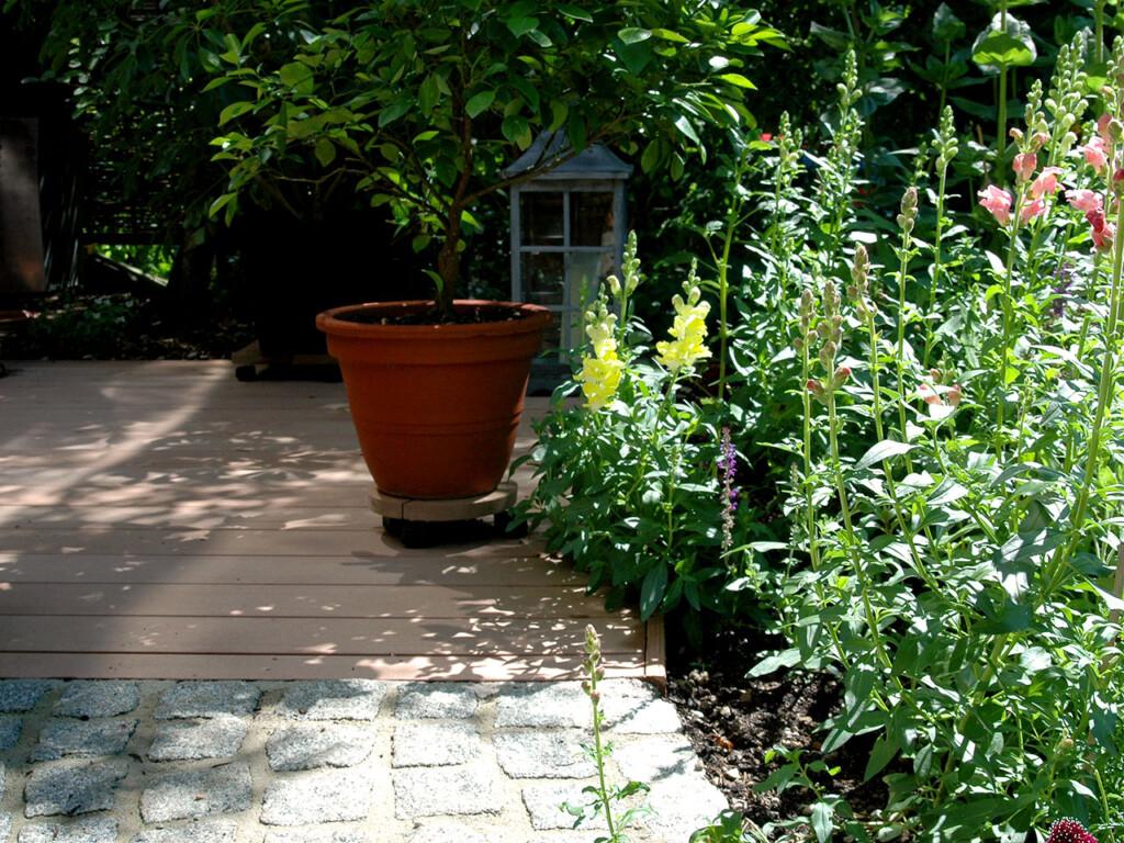 Hellbrauner Holzboden mit begrünter, mediterraner Terrassengestaltung mit Blumentöpfen