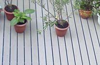 Terrassengestaltung mit mydeck wpc dielen und blumemtöpfen