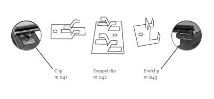 Detailzeichnung des Verlegeclip von MYDECK für die schraubenfreie Verlegung