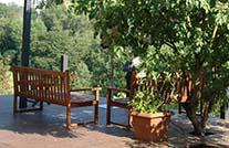 terrassenbohlen mydeck braun auf Terrasse mit Blick in garten