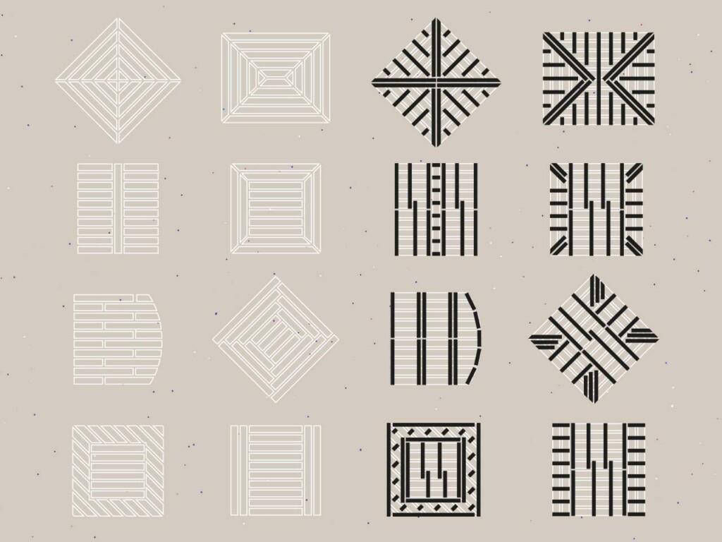 Zeichnungen zu Verlegevarianten [weiß], in schwarz ist der nötige zugehörige Aufbau der Unterkonstruktion skizziert