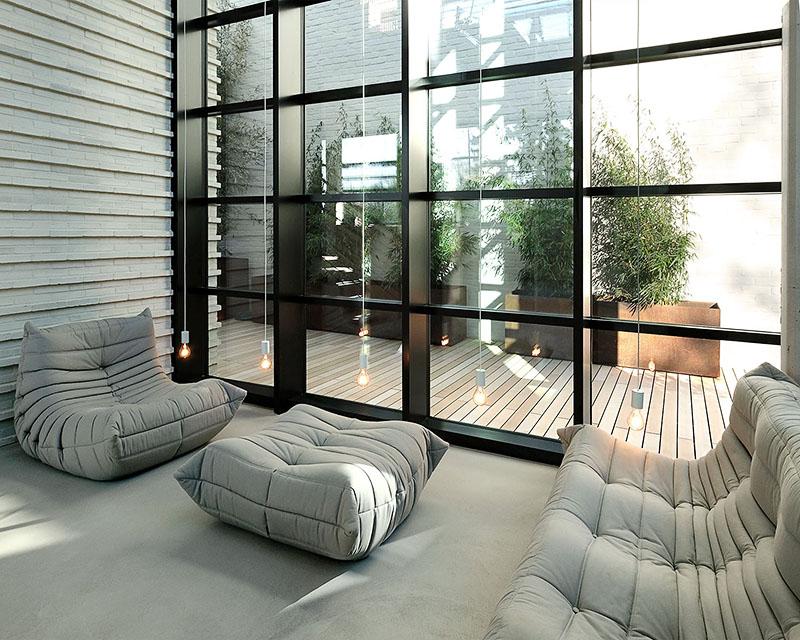 Verlegerichtung der WPC Terrassendielen als Querverlegung zum Haus, Blick von innen auf Terrasse
