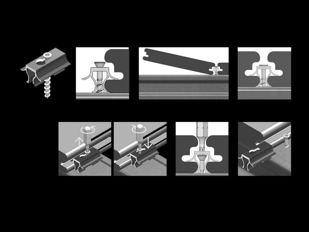 Zeichnung Clips und Darstellung der Funktionsweise des von oben lösbaren Clips