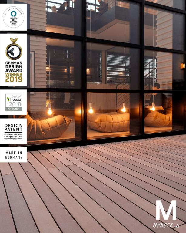 Mehrere Awards gab es bereits für den WPC Terrassenbelag von MYDECK auf Terrasse