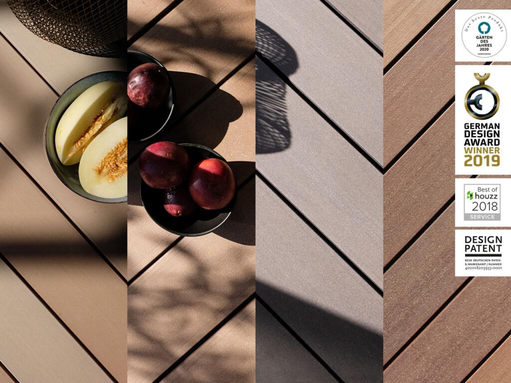 Ausschnitt aus der Farbpalette der Premium WPC Terrasssendielen von MYDECK, Nahaufnahme verschiedenfarbiger Dielen